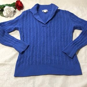 Liz Claiborne V Neck Cable knit Sweater M